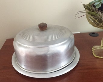 Vintage Mid Century Chrome Cake Platter and Dome Cover 1950's