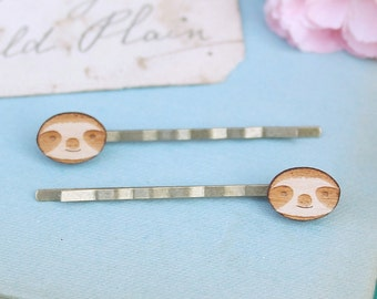 Laser Cut Wooden Sloth Hair Clips