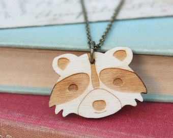 Laser Cut Wooden Raccoon Necklace