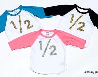 1/2 Birthday//Baby Shirt // Gold/ //6 Months// Gender Neutral// Birthday Shirt// Ready To Ship