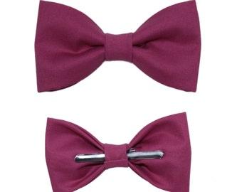 Plum Purple Clip On Cotton Bow Tie Bowtie ~ Choose Men's or Boys Sizes