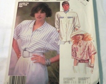 """1980s Oversized Loose fitting Shirt Blouse Top Extended shoulders Button Down sewing pattern McCalls 2912 Size 10 12 14 Bust 32.5 34 36"""" FF"""