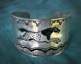 Horse bracelet, Appaloosa horse Cuff, silver-pewter, handmade USA
