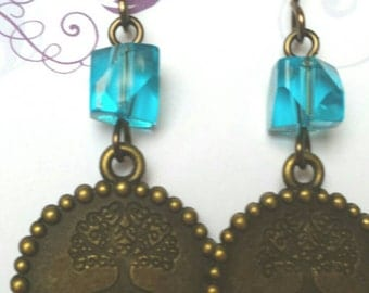 Turquoise and bronze dangle earrings, live strong