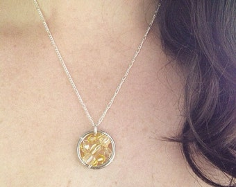 The Spina Bifida Awareness Necklace: The Life Collection/Sterling Silver/yellow bead/Swarovski/Czech/Ribbon/Cause/neural tube defect SB