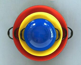 vintage enamel saute pans cookware retro red yellow and blue Yugoslavia