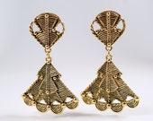 Jose Barrera Ethnic Earrings, Vintage Jose Barrera Statement Ethnic Temple to the Sun Dangle Clip On Earrings