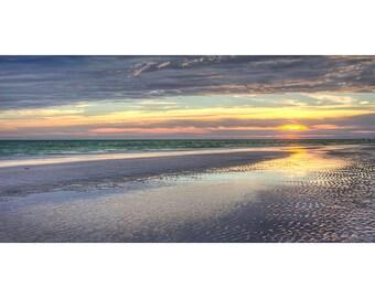 Beach Photography, Siesta Key Beach, Sunset Photography Blue Gold Pink Art Print, Beach Decor