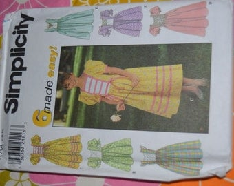 Simplicity 7982 Girls Dress Sewing Pattern - UNCUT - Sizes 7 8 10 or Size 12 14 16