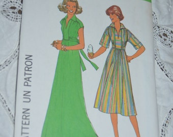 Vintage 70s Simplicity 8025 Misses Pullover Dress in Two Lengths Sewing Pattern  - UNCUT Size Petite (6 - 8)