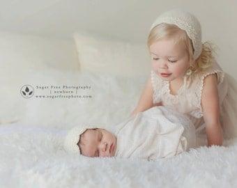 Eco Baby Bonnet - 6 Month | Photo Prop - Girl Bonnet - Angelina Undyed Alpaca