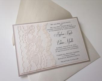 Lace Wedding Invitation, Lace Wedding Invite, Lace Invite, Lace Invitation, Black and White Wedding Invitation, ANDREA