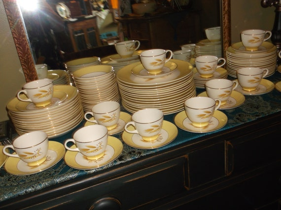 85 pc Autumn Gold Wheat Dishes Century Service by
