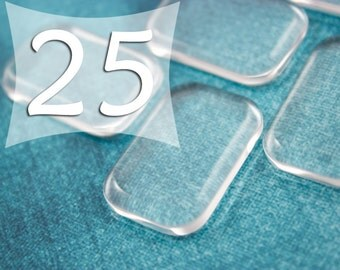20x30 mm Rectangle Clear Cabochon Glass Tile Cabs