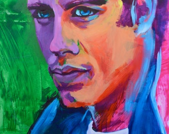 "John Travolta 12""x18"" Grease Portrait Giclee Poster Artist Print Wall Art Colorful Abstract Pop Art"