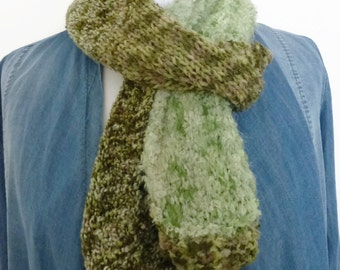 Green scarf, knitted scarf, hand knitting scarf, scarves UK