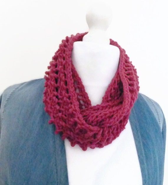 Long pink cowl knitting scarf infinity scarf by HanoverMerryMakers