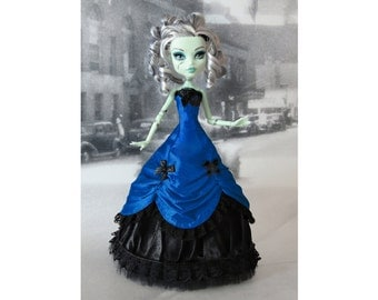 Long blue and black  victorian dress hand made fits Monster High doll