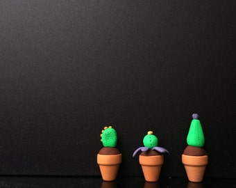 Tiny Polymer Clay Cactus Totems Set of Three