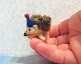Tiny Needle Felted Hedgehog with Blue Birthday Hat - Happy Birthday Baby Hedgy!