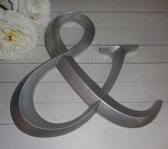 Silver ampersand and sign alphabet letters a w wall for Ampersand decor