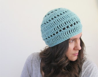 Cotton Beanie Hat   Lightweight Beanie Boho Hat   Crochet Spring Hat   Baggy Beanie   More Colors Available