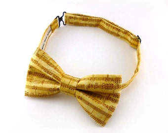 Musical notes gold bow tie for men – pre tied – music recital bowtie