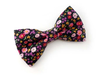 Floral bow tie mens - black and multi color mixed flowers daisy print pink and purple - groomsmen wedding bow tie