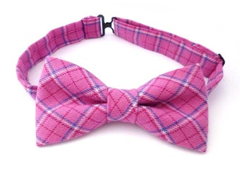 Mens bow tie pink plaid - plaid bow tie - pink bow tie - pre tied bow tie - tartan bow tie - womens bowties