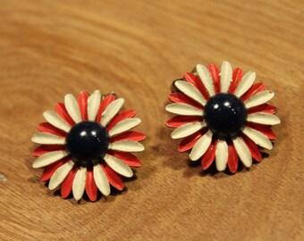 White / Red Daisy Clip On Earrings, item #173