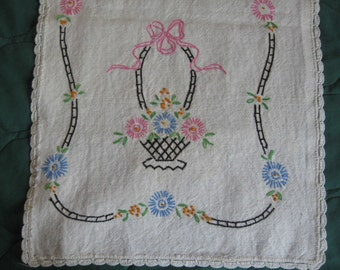 Vintage Embrooidered FLOWER BASKET emboidered Table Runner or Dresser Scarf