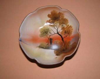 Vintage 1920's Noritake Hand Painted Porcelain Dish