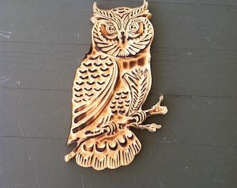 Carved Wood Owl, Owl Wood Sign, Owl Art, Wooden Owl, Owl Decor