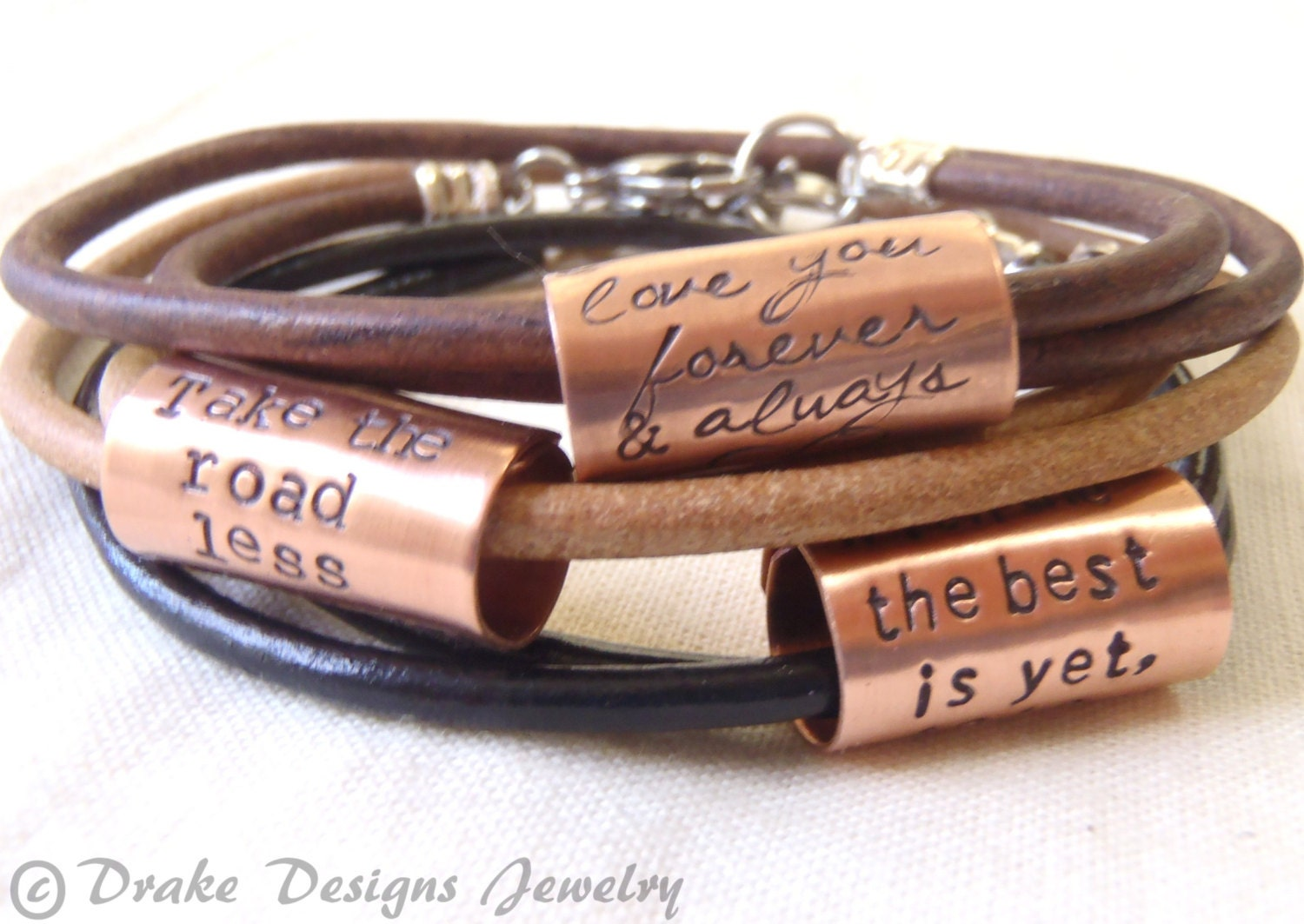 custom quote personalized leather bracelet inspirational