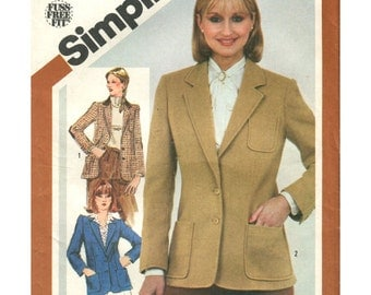 Misses Jacket Simplicity 5202 Size 12 Bust 34 Princess Seaming Button Front Closure Notched Collar Pockets Elbow Patch Vintage 80s Uncut