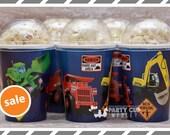 Construction Trucks Birthday Party- Popcorn Cups-Popcorn Box-Set of 8