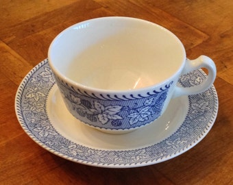 """Homer Laughlin """"Shakespeare Country"""" Blue Transferware - Four Cup and Saucer Sets"""
