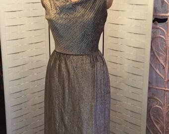 Sizzling 1950's Gold & Black Lurex Cocktail Dress