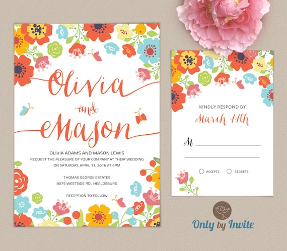 flower wedding invitations and rsvp cards spring wedding invitations