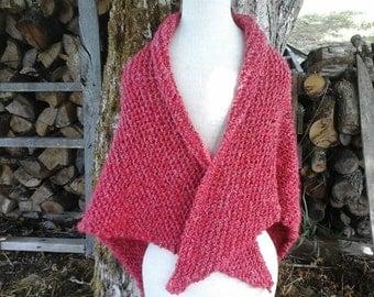 Long triangular red shawl, soft warm and cozy.