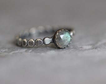 Labradorite Ring, Rose Cut, Flashy Blue, AAA, Beaded, Dotted, 6mm, Stacking Ring, Bezel Set, Sterling Silver, Solitaire Ring