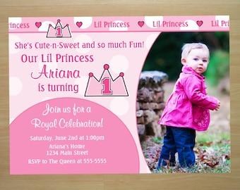 Princess 1st Birthday Invitation - Digital File (Printing Available)