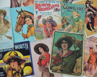12 Pc. Vintage COWBOY Cowgirl DIE CUTS Rodeo Western for Crafts || M13 || Free Shipping || OldPaperCat