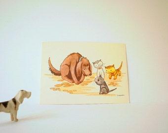 Vintage Post Card,Unused. Cute Dog and Kitten, Ephemera. Childrens Card, Cartoon, illustration, Midcentury Vintage Card. Cute and Sweet Card