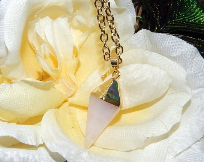 Gold Pendulum Necklace Rose Quartz - Divining tool, Pendulum pendant with 30 inch adjustable chain - Reiki Magic Wicca Pagan Wiccan jewelry