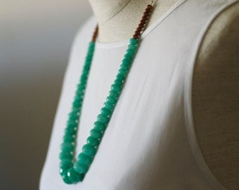 One of a Kind- Statement Necklace-Green Jade and Goldsand  Gems necklace