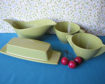 Four Mallo Belle Serving Pieces Gravy Boat, Butter Dish, Cream & Sugar - Vintage 1960's