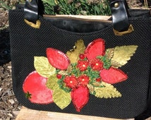 Vintage 1970s large Black Woven handbag with red velvet and beaded embellishments