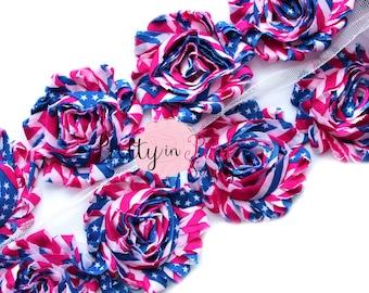 STAR SPANGLED BANNER Shabby Rose Trim- Shabby Flowers- 1/2 Yard or 1 Yard- Shabby Chiffon Trim- Wholesale Shabby Flowers-
