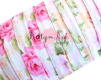 "Pastel Rose Garden- Fold Over Elastic- FOE- You Choose Yards- Foldover Print Elastic- Elastic by the Yard- 5/8"" Fold Over Elastic"